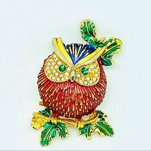 Vintage Owl Brooch Figural Pin Enamel Rhinestones